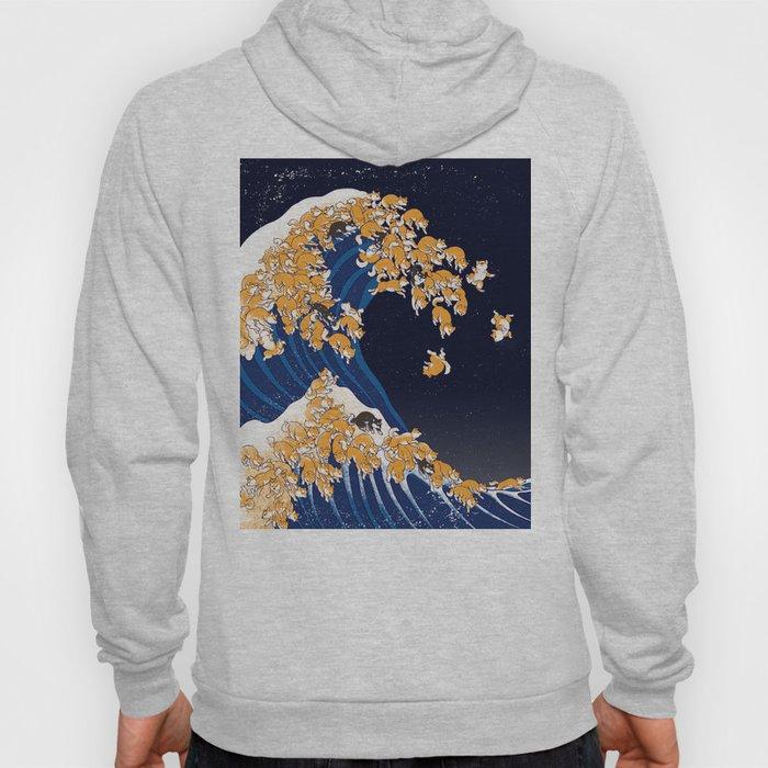 Shiba Inu The Great Wave in Night Hoodie