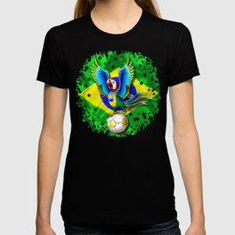 Brazil Macaw Parrot with Soccer Ball T-shirt