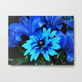 Electric Blue Flowers Metal Print
