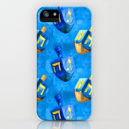 Hanukkah Dreidels Holiday Pattern in Blue and Gold iPhone Case