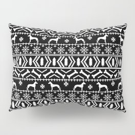 Great Dane fair isle christmas holiday black and white minimal pattern gifts for dog lover Pillow Sham