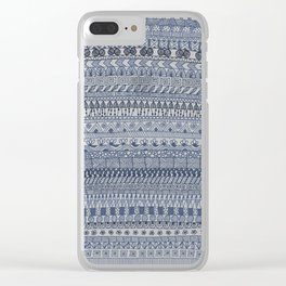 Indigo Doodle strips Clear iPhone Case