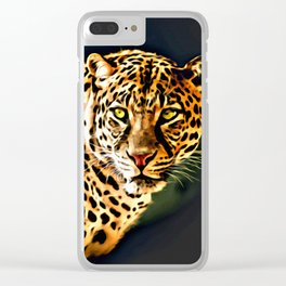 Leopard Digital Painting Clear iPhone Case