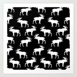 Moose Trot // Black Art Print