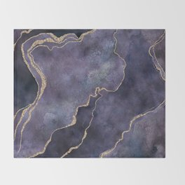 Purple Watercolor Marble Gemstone Glamour Throw Blanket