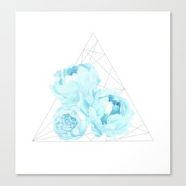 Blue Peonies (White) Canvas Print