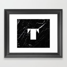 Black Marble - Alphabet T Framed Art Print