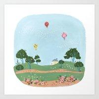 Balloons Village Art Print
