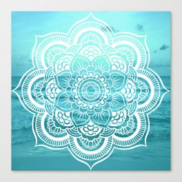 Mandala : Aqua Sunset Waters Canvas Print