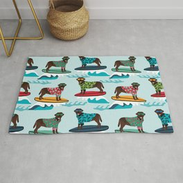 Chocolate Labrador surfing dog breed pattern Rug