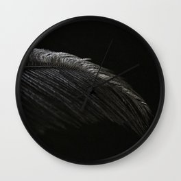 Black on Black Ostrich Feather Wall Clock