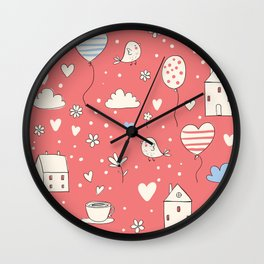 Lovely Life - Red Wall Clock