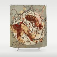 birds Shower Curtains featuring Honey & Sorrow (grey) by Teagan White