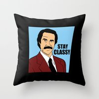 will ferrell Throw Pillows featuring Stay Classy - Ron Burgundy by Buby87