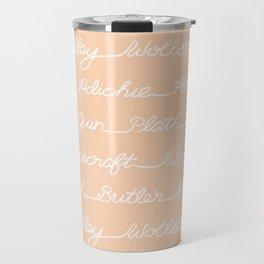 Feminist Book Author Surname Hand Written Calligraphy Lettering Pattern - Orange Travel Mug