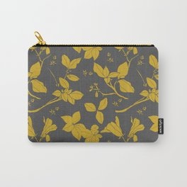 Drawings from Stonecrop Garden, Pattern in Gold & Grey Carry-All Pouch