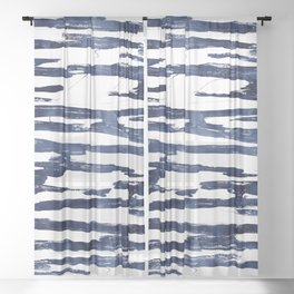 Abstract Waves in Blue Sheer Curtain