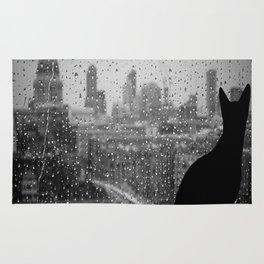 cat gray day Rug