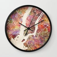 new york map Wall Clocks featuring New York Map Watercolor by Map Map Maps