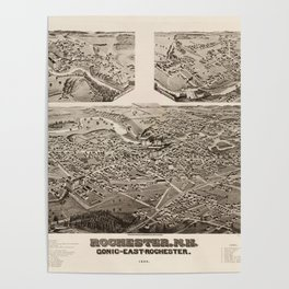 Vintage Pictorial Map of Rochester NH (1884) Poster