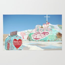 """Salvation Mountain Mail Box """"God is Love"""" Rug"""
