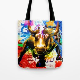 Wall Street Bull Painted Tote Bag