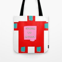 om Tote Bags featuring OM by lucborell