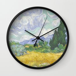 A Wheatfield with Cypresses by Vincent van Gogh Wall Clock