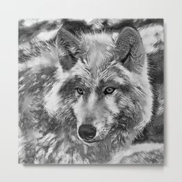 AnimalArtBW_Wolf_20170604_by_JAMColorsSpecial Metal Print