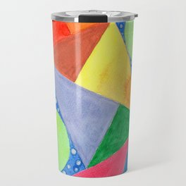 Lime Green Circles within a Cool Triangles Pattern Travel Mug