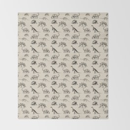 Museum Animals | Dinosaur Skeletons on Cream Throw Blanket