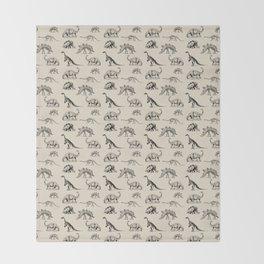 Museum Animals | Dinosaur Skeletons on Cream Throw Blanket
