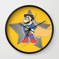 super mario Wall Clocks featuring Super Mario by tshirtsz