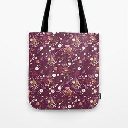 Burgundy white blush pink hand painted floral Tote Bag