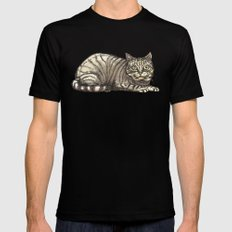 Tabby Cat with a Mysterious Smile MEDIUM Mens Fitted Tee Black