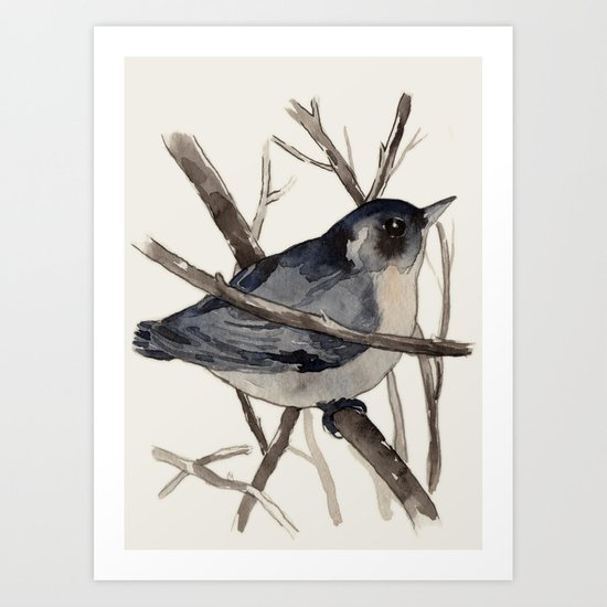 Grey Birdy 2 Art Print