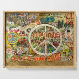 Peace Sign - Love - Graffiti Serving Tray