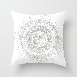 Mandala with Full Moon and Constellations Illustration Throw Pillow