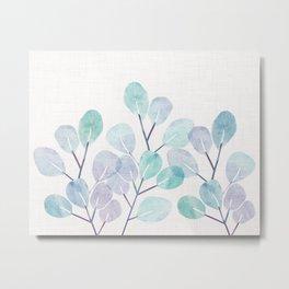 Eucalyptus / Watercolor Collage Metal Print