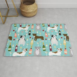 Pitbull wine champagne dog breed pet portrait pet friendly gifts for dog lovers Rug