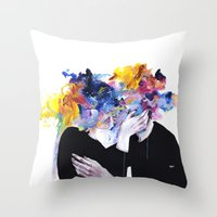 agnes Throw Pillows featuring intimacy on display by agnes-cecile