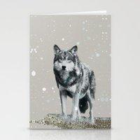 dota Stationery Cards featuring SNOW WOLF by Monika Strigel