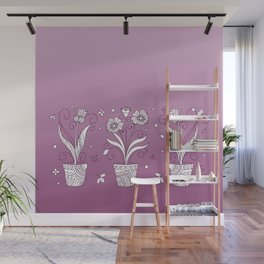 violet contour three zen pots with doodle flowers Wall Mural