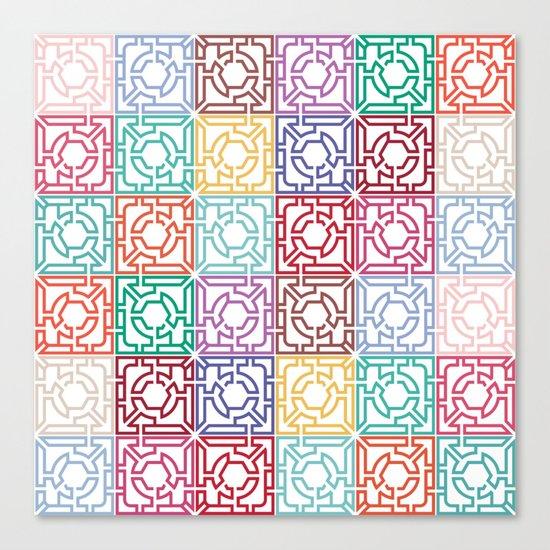 Maze Colorful Seamless Pattern Canvas Print