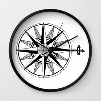 compass Wall Clocks featuring Compass by Addison Karl