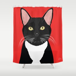 Tuxedo Cat Art Poster by Artist A.Ramos. Designed in Bold Colors. Perfect for Pet Lovers Shower Curtain