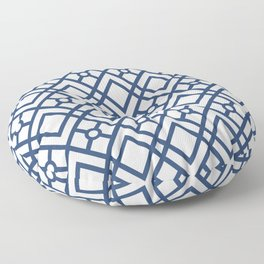 Modern Geometric Diamonds and Circles Pattern Navy Blue and White Floor Pillow