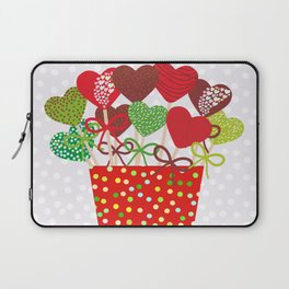 Christmas design Cake pops set with bow gray background with snowflakes. Laptop Sleeve