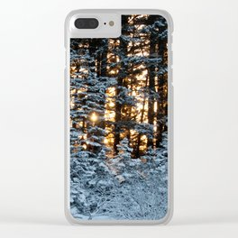Snow Covered Pine Trees Photography Print Clear iPhone Case