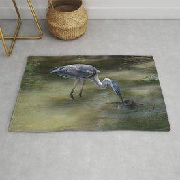 Great Blue Heron Catching Huge Frog - I Rug